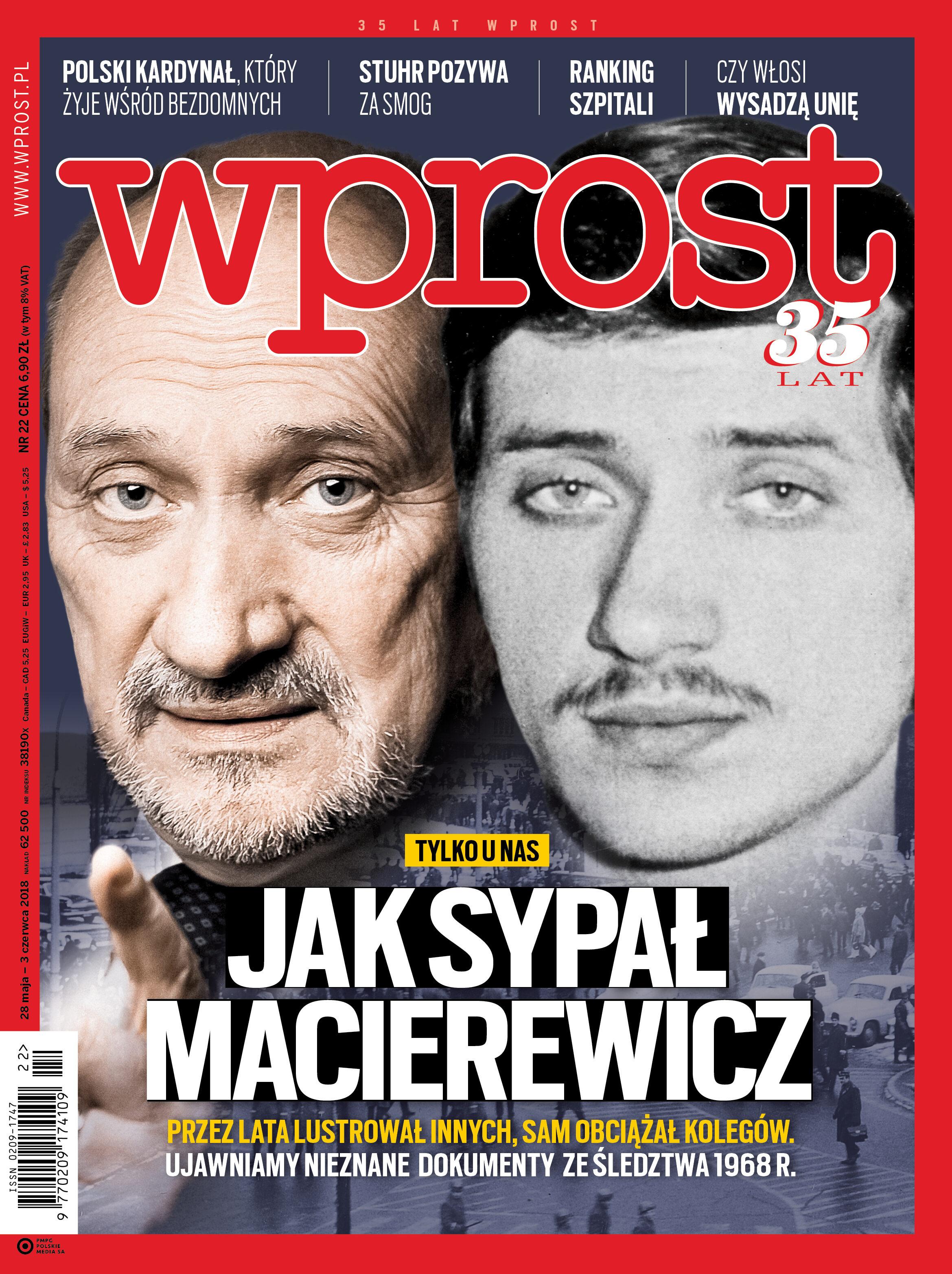 Okładka tygodnika Wprost nr 22/2018 (1837)