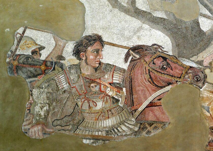 Aleksander Wielki w czasie bitwy pod Issos, fragment rzymskiej mozaiki z Narodowego Muzeum Archeologicznego w Neapolu