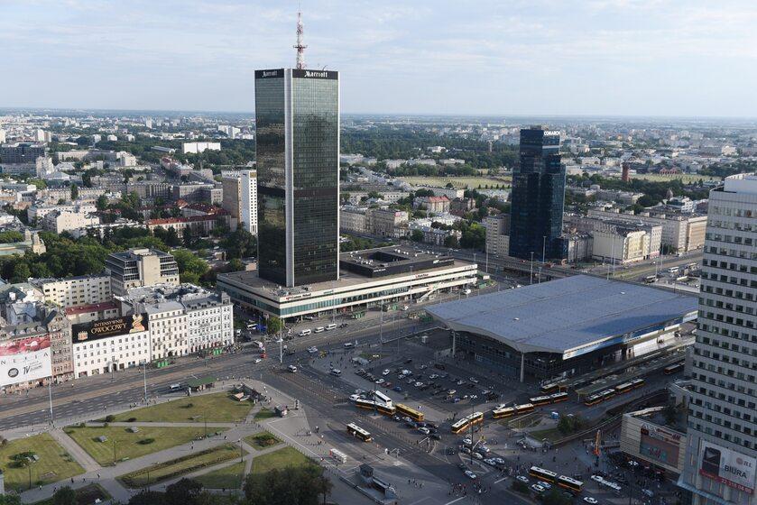 Panorama Warszawy, widok na Dworzec Centralny