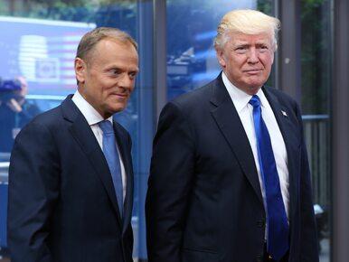 """Mocne powitanie Tuska i Trumpa. Prezydent USA """"klepnął"""" szefa Rady..."""