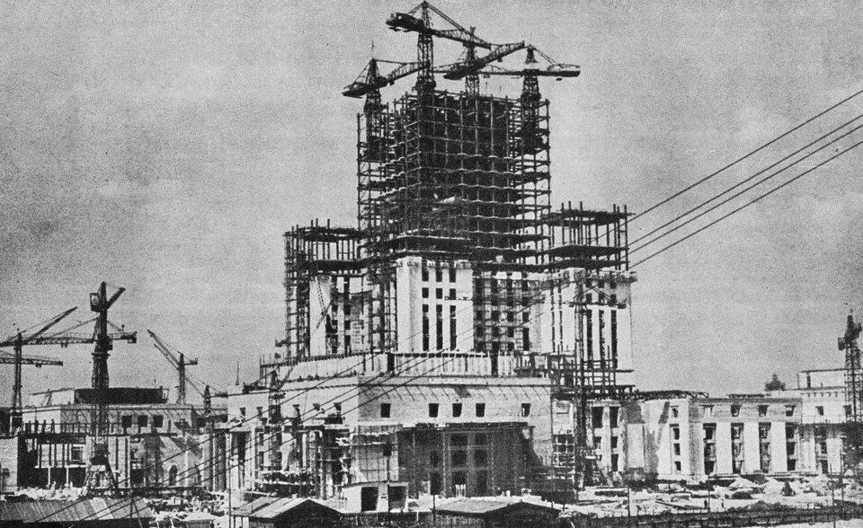 Budowa iwnętrze Pałacu Kultury iNauki