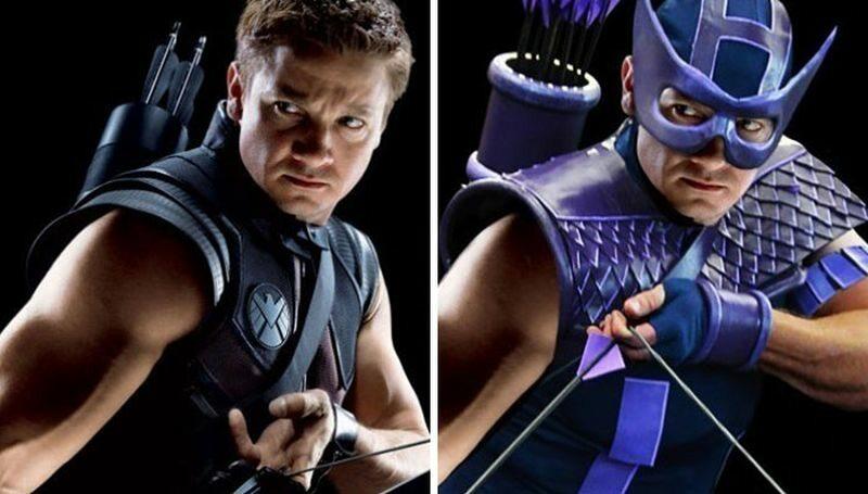 Hawkeye (po lewej w filmie, po prawej zgodnie z komiksem)