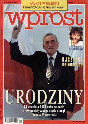 Okładka tygodnika Wprost nr 38/1999 (877)