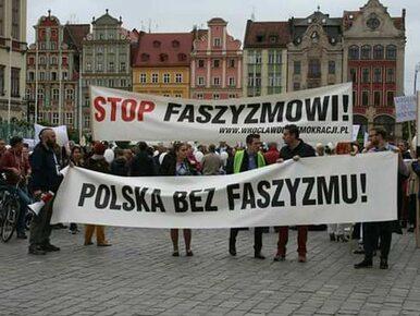 """Antyfaszystowska demonstracja we Wrocławiu. """"Wrocław nie jest Międlara i..."""