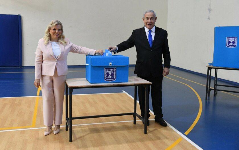 Benjamin Netanjahu z małżonką