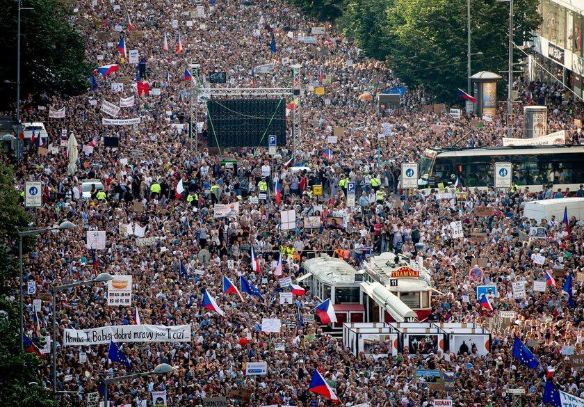 Antyrządowa demonstracja w Pradze